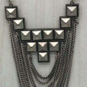 Gothic chain metal tone. Spiked bib necklace.